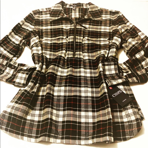 Chaps Tops - New With Tag Plaid Zip Up Shirt